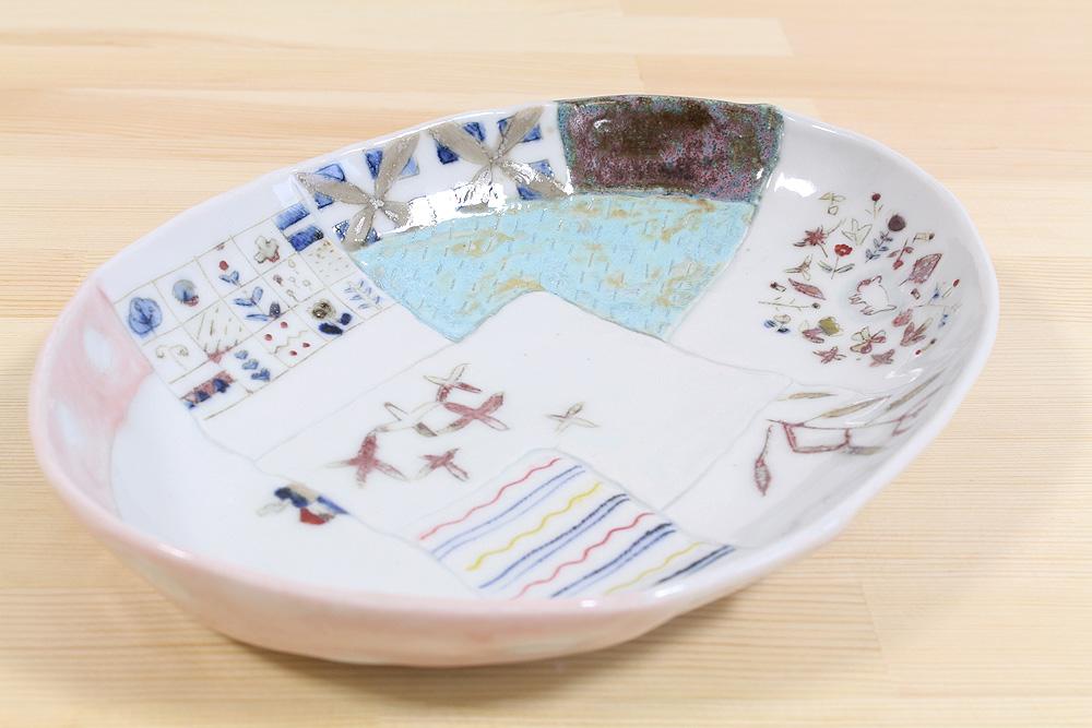西山千代子/ はりあわせ楕円鉢