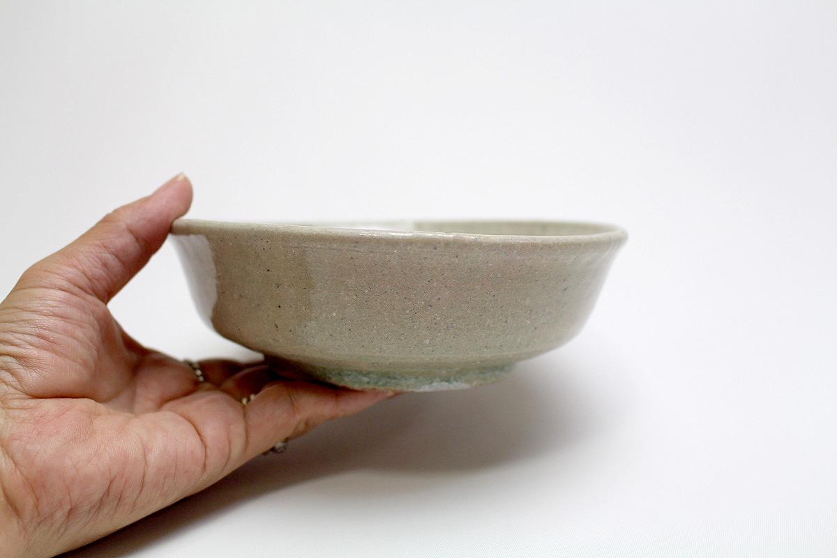 山野邉 孝 / 5寸平鉢(土灰釉/緑)
